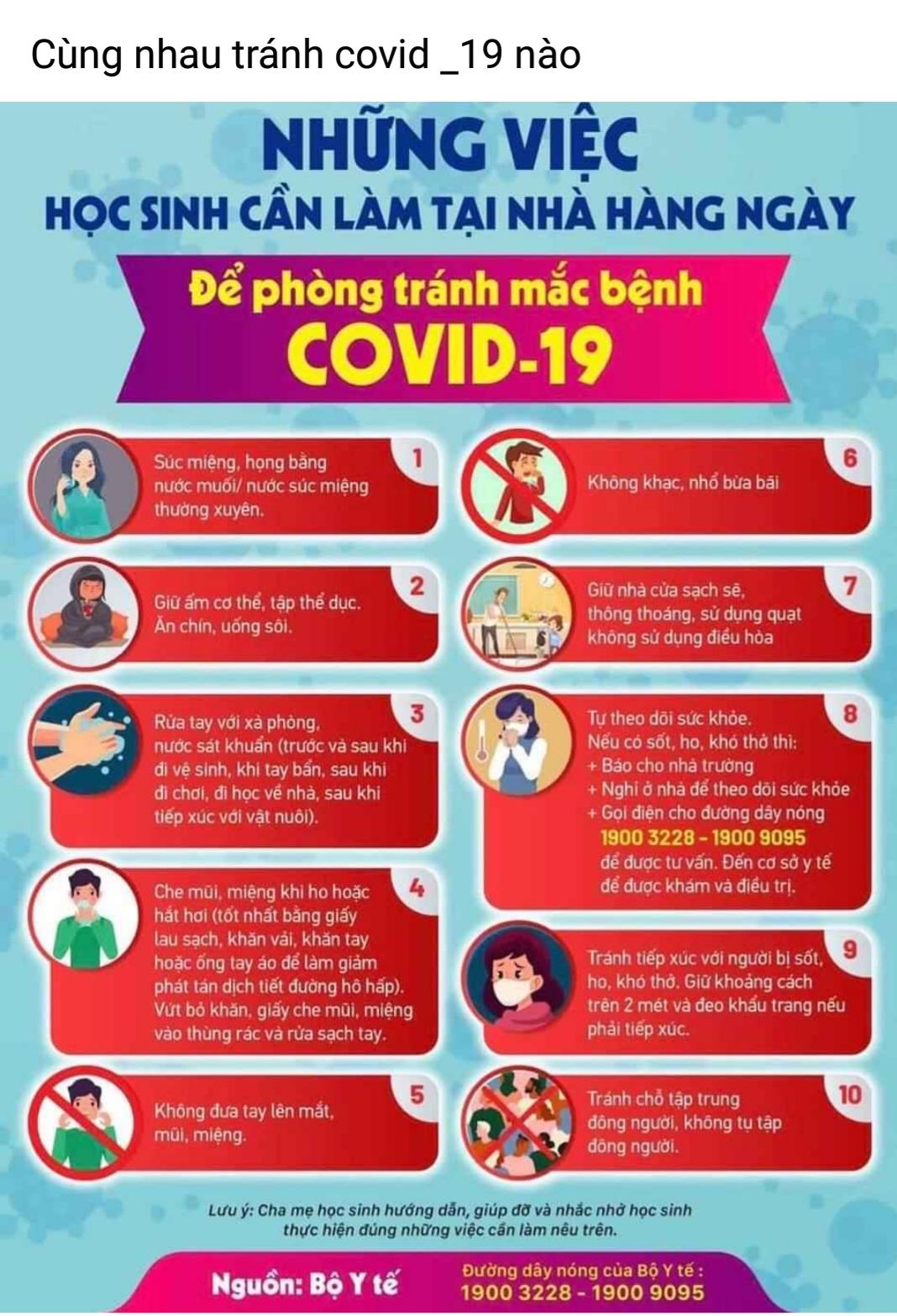 Những việc học sinh cần làm hàng ngày trong thời gian nghỉ dịch Covid 19