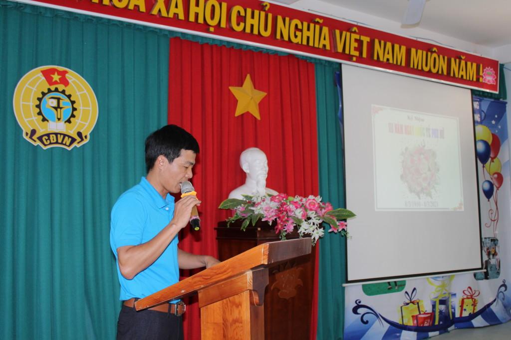 Đ/C Nguyễn Văn Vây chủ tịch công đoàn phát biểu.